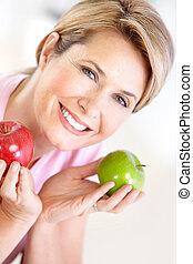 vrouw, appeltjes