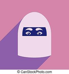 vrouw, arabier, pictogram, schaduw, plat, lang