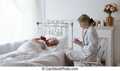 vrouw arts, met, een, patiënt