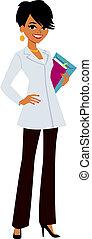 vrouw, arts, vervelend, jas, witte
