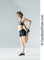 vrouw, atletisch, jonge, het uitoefenen, Bovenkant, sportkleding, aanzicht