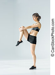 vrouw, atletisch, weg, jonge, het uitoefenen, Het kijken, Bovenkant, sportkleding, aanzicht