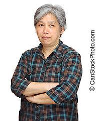 vrouw, aziaat, middelbare leeftijd