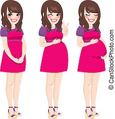 vrouw, aziaat, zwangere