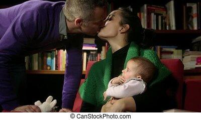 vrouw, baby, gezin, echtgenoot