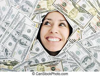 vrouw, bacground, geld, trought, het kijken, gat