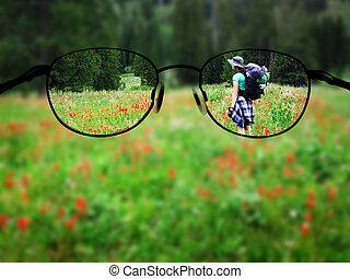 vrouw, backpacking, bril, brandpunt