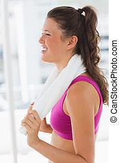 vrouw, baddoek, passen,  Gym, het glimlachen, Bovenkant, aanzicht