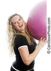 vrouw, bal, fitness