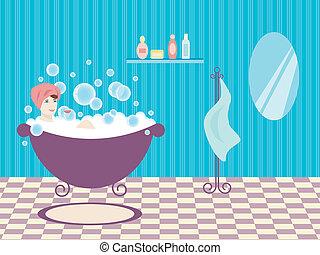vrouw, bath.