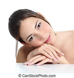 vrouw, beauty, franse , gezicht, manicure, handen