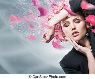 vrouw, beauty, gezicht, mode, verticaal, in, kostuum