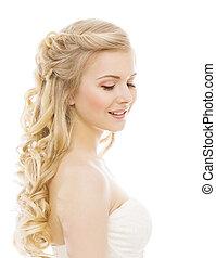 vrouw, beauty, makeup, langharige, jong meisje, met, blonde , krullend, haren