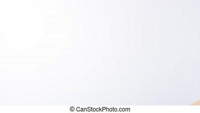 vrouw, beauty, studioportret, professioneel, het glimlachen, blonde