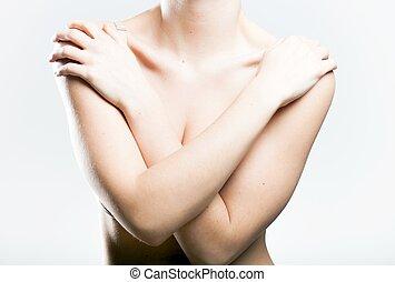 vrouw, bedekking, haar, borstjes, armen