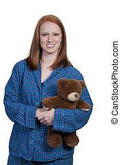 vrouw, beer, teddy