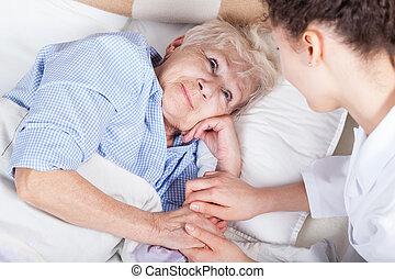 vrouw, bejaarden, bed