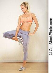 vrouw, benen, haar,  Stretching