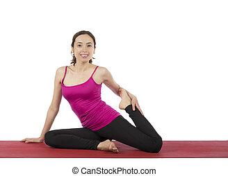 vrouw, benen, jonge, haar,  Stretching