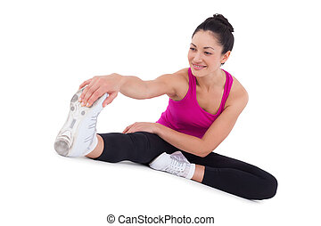 vrouw, benen, passen, haar,  Stretching