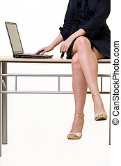 vrouw, benen, zakelijk