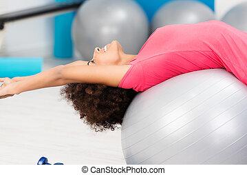 vrouw, beoefenen, gym, pilates, soepel, vrolijke