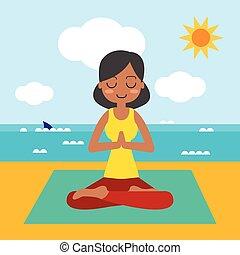 vrouw, beoefenen, lotus maniertje, jonge, yoga