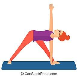 vrouw, beoefenen, yoga.