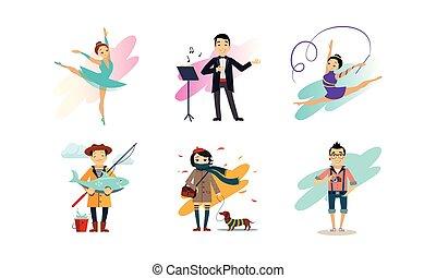 vrouw, beroepen, set, mensen, illustratie, vector, gevarieerd, achtergrond, hobbies, witte , het genieten van, man