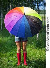 vrouw, beschermen, zichzelf, van, de, regen
