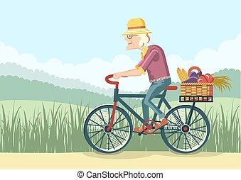 vrouw, besturen, tuinman, oud, bike., vector