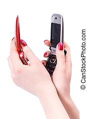 vrouw, beweeglijk, twee, telefoon, black , handen, rood