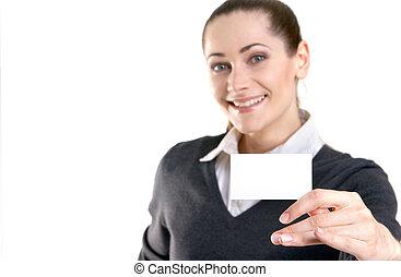 vrouw, bezoek, kaart, zakelijk