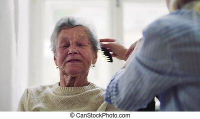 vrouw, bezoeker, haar, gezondheid, het kammen, senior, home.