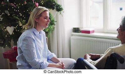 vrouw, bezoeker, wheelchair, time., gezondheid, thuis,...