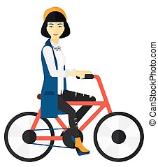 vrouw, bicycle., paardrijden