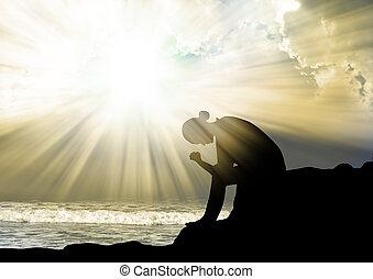 vrouw bidden, om te, god, op, ondergaande zon