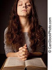 vrouw, bidsnoer, heilig, jonge, bijbel, biddend