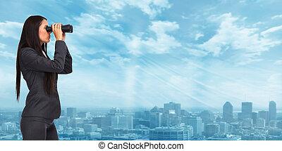 vrouw, binoculars., zakelijk