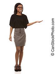 vrouw, black , zakelijk, wijzende