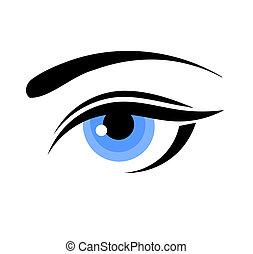 vrouw, blauw oog