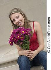 vrouw, bloem