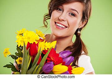 vrouw, bloemen, jonge, vrolijke