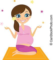 vrouw, bloemen, juggling, yoga, zwangere