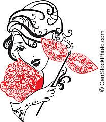 vrouw, bloemen, masker