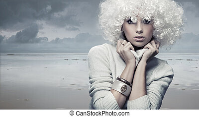 vrouw, blonde , beauty