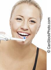 vrouw, blonde , haar, moderne, tanden het schoonmaken, mooi, electr, het glimlachen