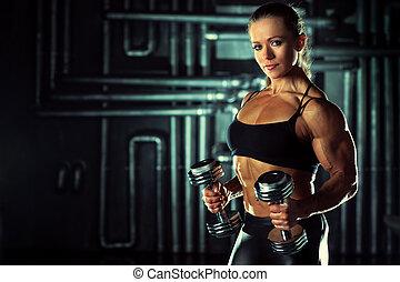 vrouw, bodybuilder