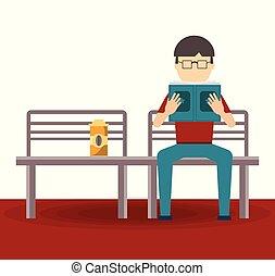vrouw, boek, lezende