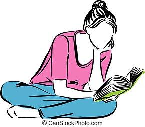vrouw, boek, lezende , illustratie